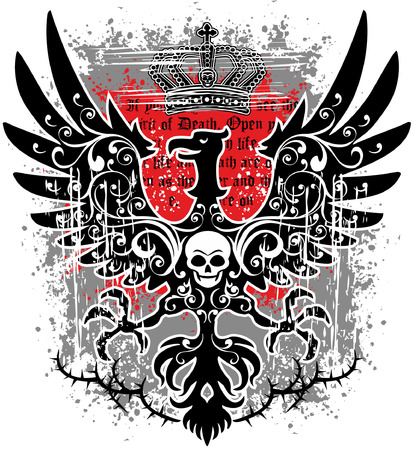 cross and eagle: eagle grunge skull coat of arms Illustration