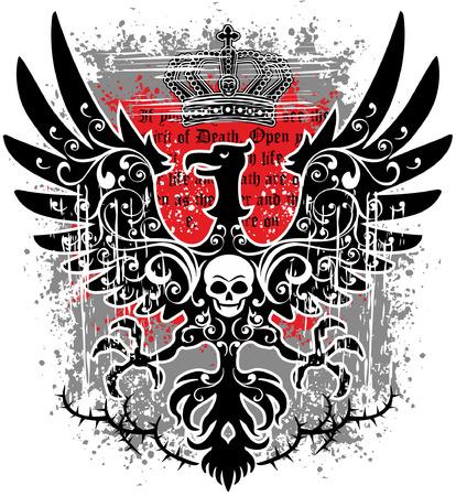 incubus: eagle grunge skull coat of arms Illustration