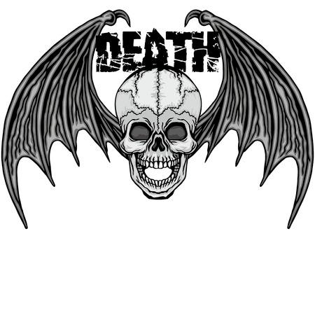 angel cemetery: eagle grunge skull coat of arms Illustration