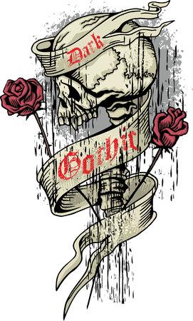 satan: grunge skull coat of arms