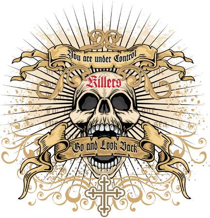 angel cemetery: grunge skull coat of arms