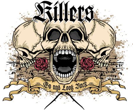 satan: escudo de armas del cráneo del grunge Vectores