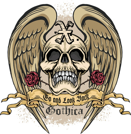 satanas: escudo de armas del cráneo del grunge Vectores