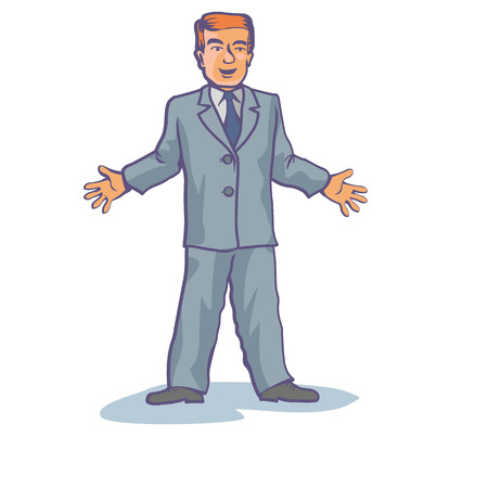 salesmen: jolly man dressed in a blue suit Illustration