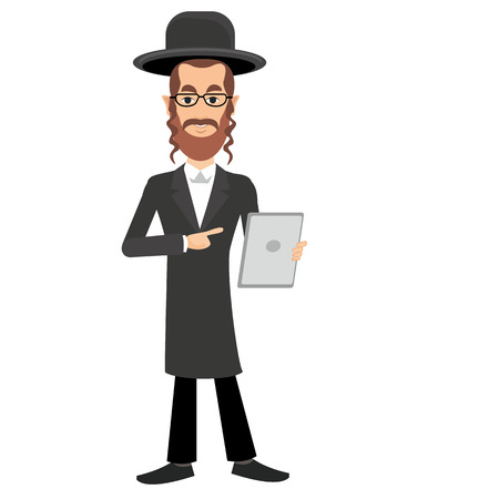 rabbi: jew with a tablet in hands