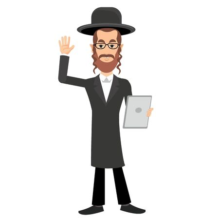the rabbi: jew with a tablet in hands