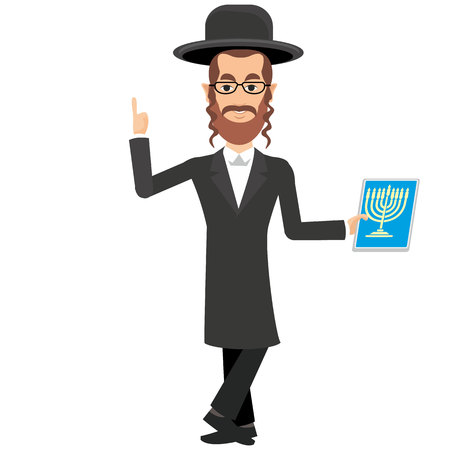 rabbi: jew with a tablet Illustration