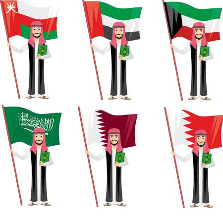 gulf: arab with flag