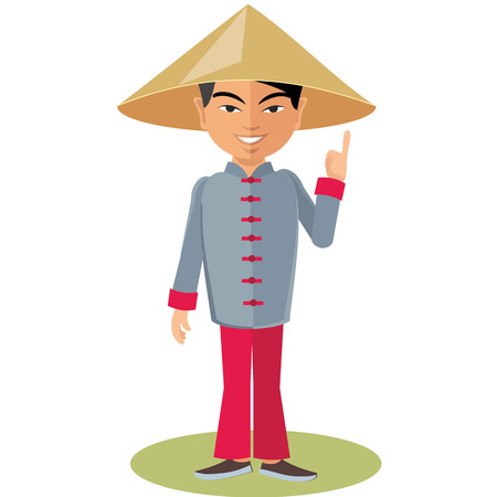 conical hat: Chinese man in a conical hat Illustration