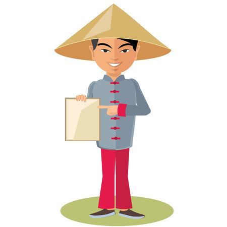 asian adult: Chinese man in a headdress with tablet