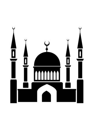 house of worship: mosque, religious building a house of worship .. Illustration