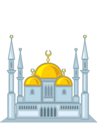namaz: mosque. gothic, religious building a house of worship .. Illustration