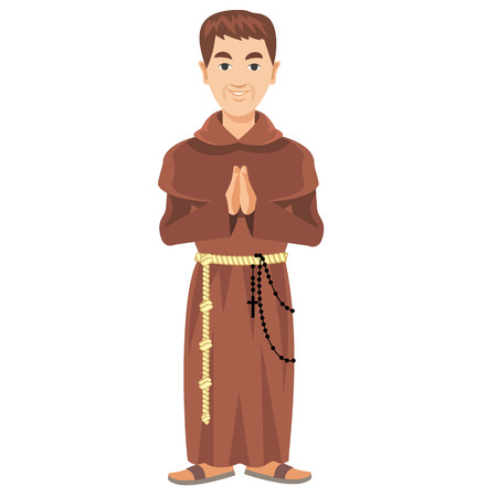 sotana: Franciscan monk in a cassock and rosary