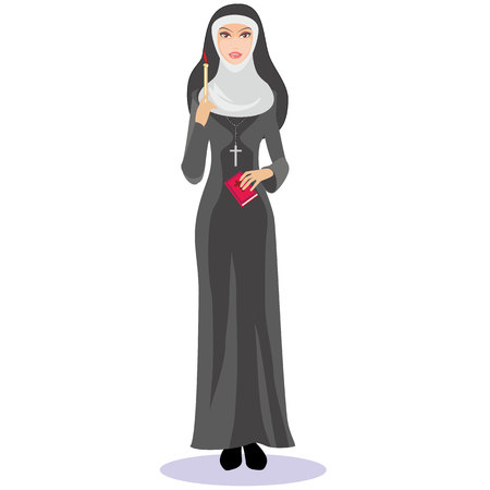 catholic nuns: nun with a candle and a Bible in the hands of