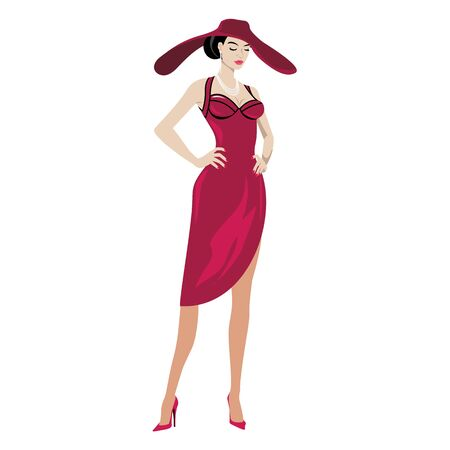 evening dress: woman in evening dress with a hat