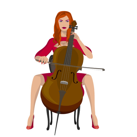 cellist: girl playing the cello Illustration