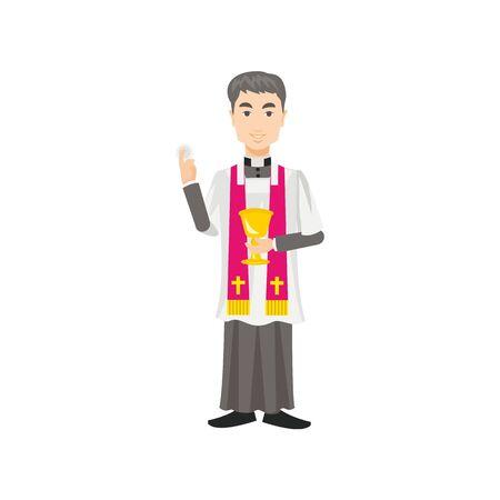 sotana: sacerdote católico en una sotana con una taza de comunión en la mano Vectores