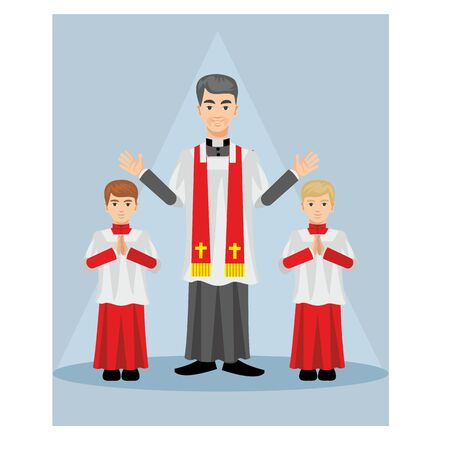 cassock: Catholic priest in a cassock with children