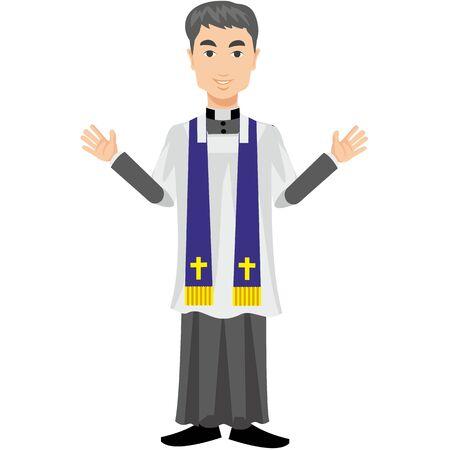 cassock: Catholic priest in a cassock Illustration