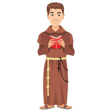 prete cattolico in una tonaca con la Bibbia