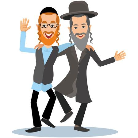 two orthodox jew, hassid, rabbi, with Payot and Kippah Vettoriali