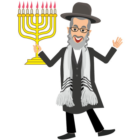 rabbi: Jew with menorah Illustration