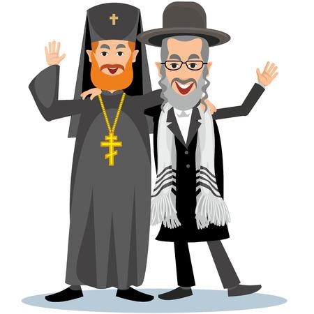 semite: Jew-Rabbi with ortodox priest Illustration