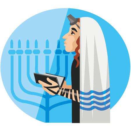mishnah: tefillin, orthodox jew, hassid, rabbi, with Payot and Kippah