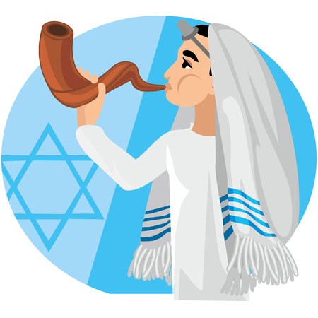 orthodox jew, hassid, rabbi, with Payot and Kippah, Shofar Illustration