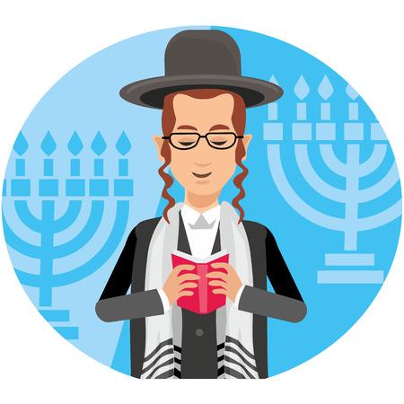 orthodox jew, hassid, rabbi, with Payot and Kippah, torah Illustration