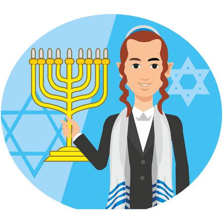 mishnah: orthodox jew, hassid, rabbi, with Payot and Kippah, menorah