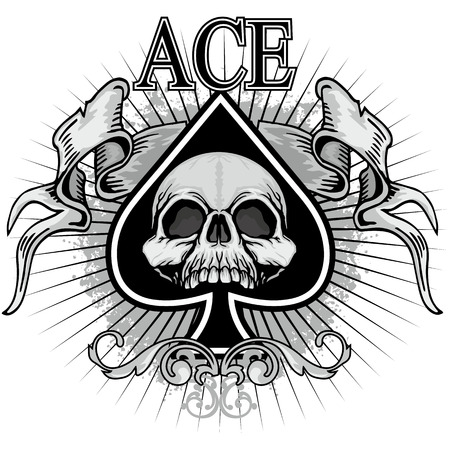 ace of spades with skull