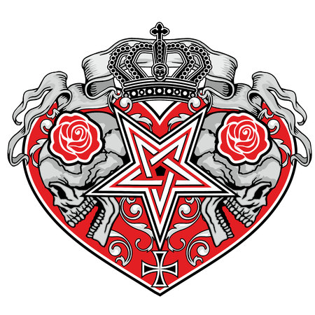 grunge skull: grunge skull coat of arms with heart and roses
