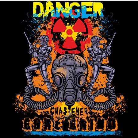 fiend: grunge skull coat of arms t-shirt design Illustration