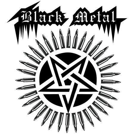 satanist: pentagram with bandolier