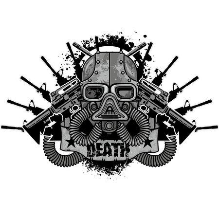 grunge skull coat of arms