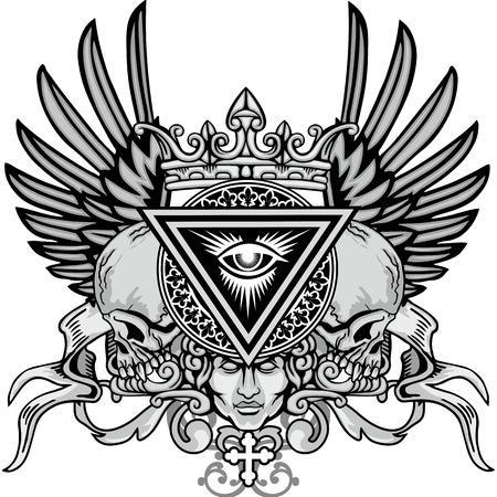 Escudo de armas del cráneo del grunge Foto de archivo - 69251137