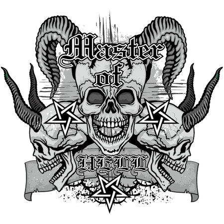 satanist: grunge skull coat of arms