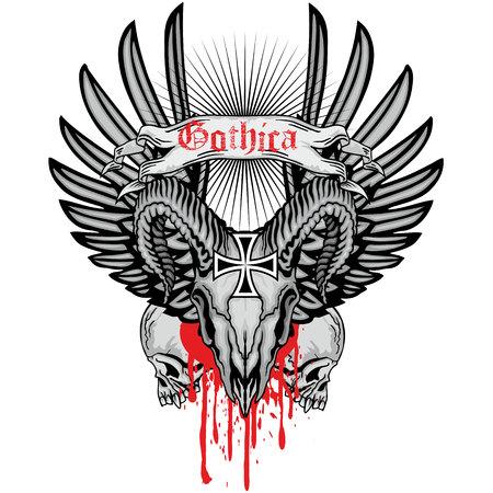 demonio: escudo de armas del cráneo del grunge Vectores