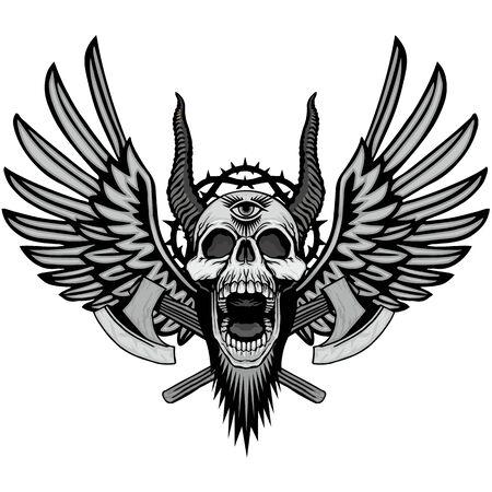 grunge skull coat of arms Zdjęcie Seryjne - 70460177