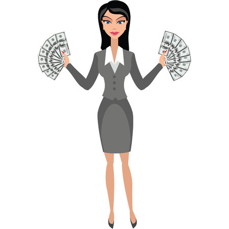 Businesswoman girl with money
