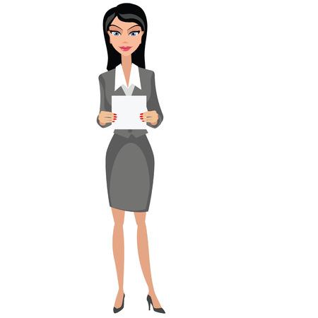 Businesswoman girl with banner Иллюстрация