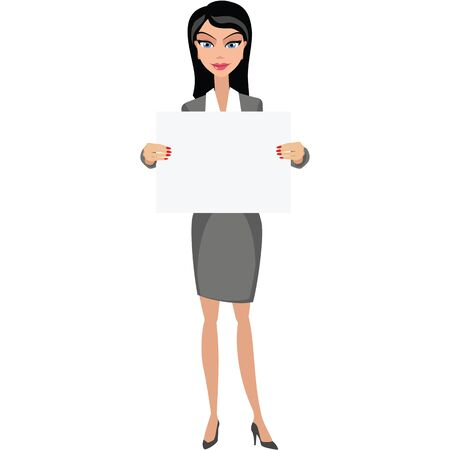 Businesswoman girl with banner Çizim