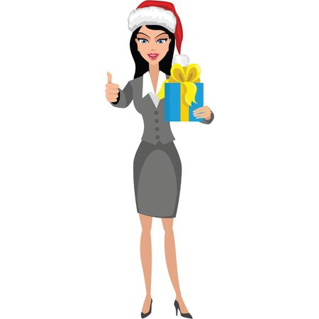 Business girl with a gift. Иллюстрация