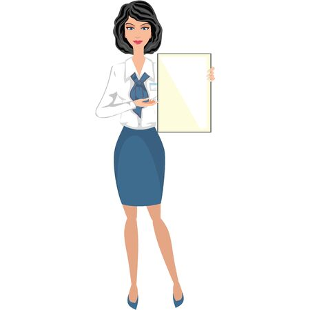 Business woman, girl with banner