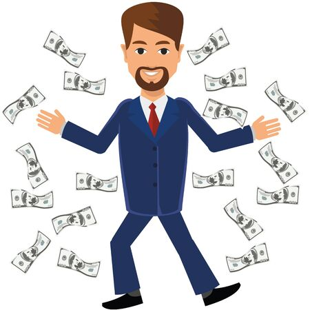Business man man with money. Иллюстрация