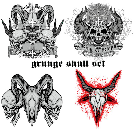 satanist: grunge skull coat of arms, skull set