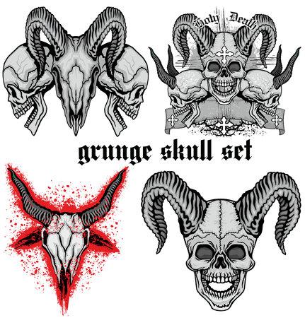 satanist: Grunge skull coat of arms, skull set.