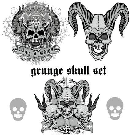 satanist: Gothic grunge skull coat of arms, skull set.
