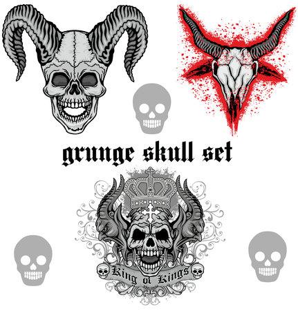 lucifer: Baphomet grunge skull coat of arms, skull set.